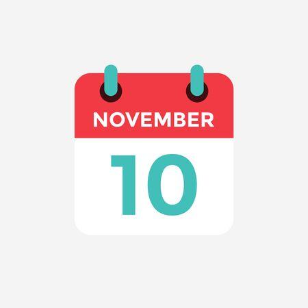 Flat icon calendar 10 November. Date, day and month. Vector illustration. Illusztráció