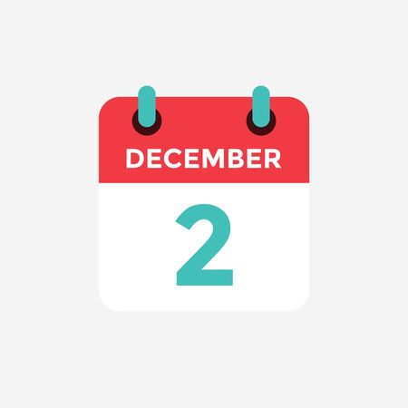 Flat icon calendar 2st of December. Date, day and month. Vector illustration.