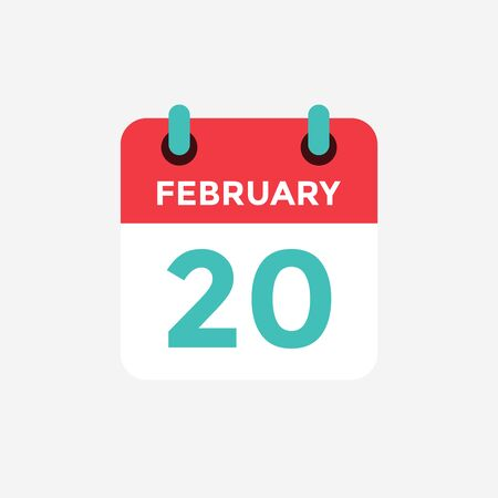 Flat icon calendar 20 of February. Date, day and month. Vector illustration. 스톡 콘텐츠 - 131812560