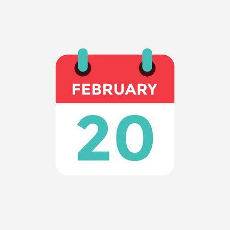Flat icon calendar 20 of February. Date, day and month. Vector illustration. Illusztráció
