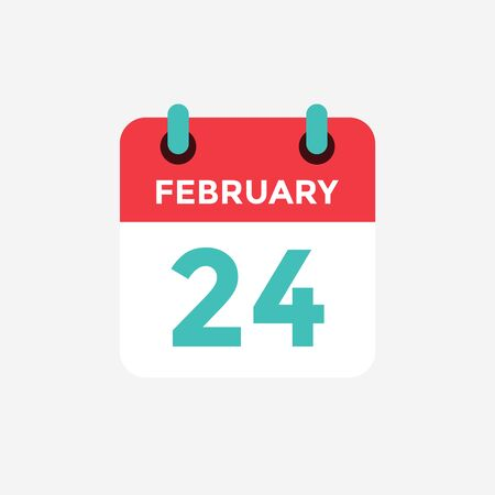 Flat icon calendar 24 of February. Date, day and month. Vector illustration. 일러스트