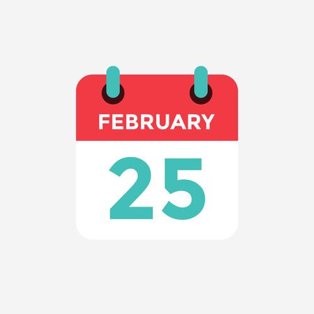 Flat icon calendar 25 of February. Date, day and month. Vector illustration.