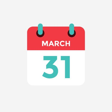 Flat icon calendar 31 of March. Date, day and month. Vector illustration. 일러스트