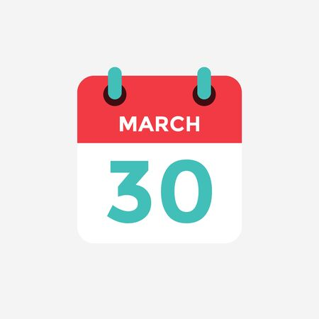 Flat icon calendar 30 of March. Date, day and month. Vector illustration.