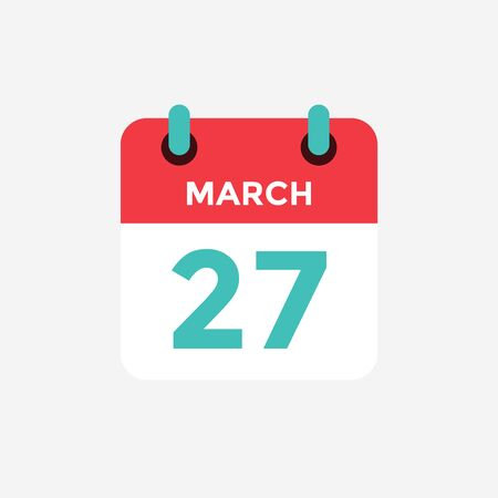 Flat icon calendar 27 of March. Date, day and month. Vector illustration. 스톡 콘텐츠 - 131811876