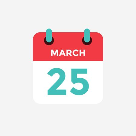 Flat icon calendar 25 of March. Date, day and month. Vector illustration.