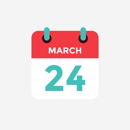 Flat icon calendar 24 of March. Date, day and month. Vector illustration