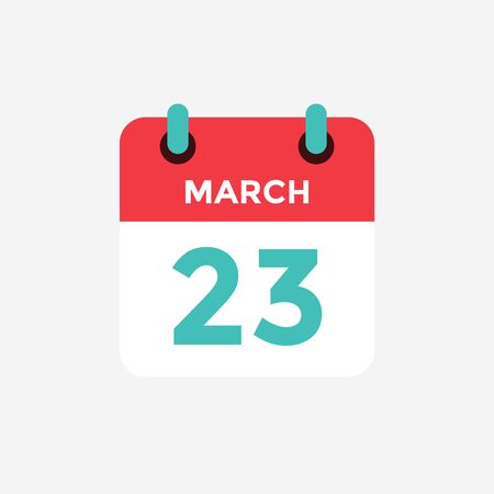 Flat icon calendar 23 of March. Date, day and month. Vector illustration. 스톡 콘텐츠 - 131814495