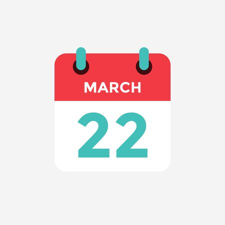 Flat icon calendar 22 of March. Date, day and month. Vector illustration.