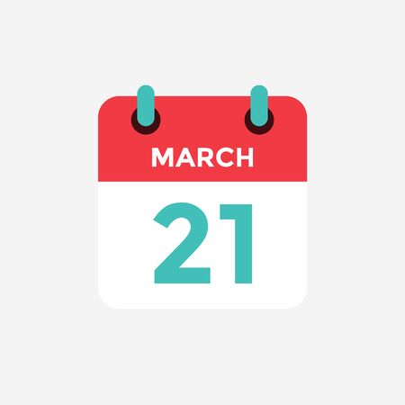 Flat icon calendar 21 of March. Date, day and month. Vector illustration.