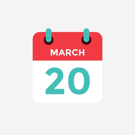 Flat icon calendar 20 of March. Date, day and month. Vector illustration.