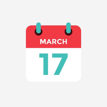 Flat icon calendar 17 of March. Date, day and month. Vector illustration. 일러스트