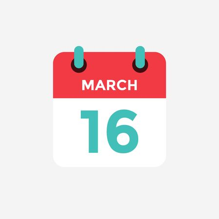 Flat icon calendar 16 of March. Date, day and month. Vector illustration. 스톡 콘텐츠 - 131811830