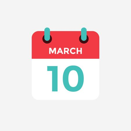 Flat icon calendar 10 of March. Date, day and month. Vector illustration. 스톡 콘텐츠 - 131812341