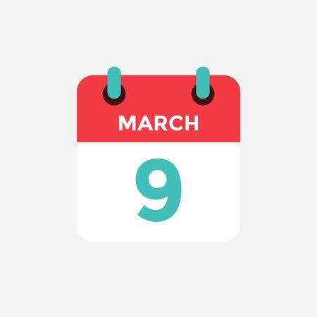 Flat icon calendar 9 of March. Date, day and month. Vector illustration.