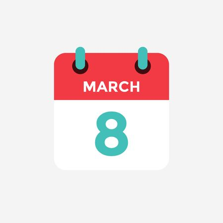 Flat icon calendar 8 of March. Date, day and month. Vector illustration.