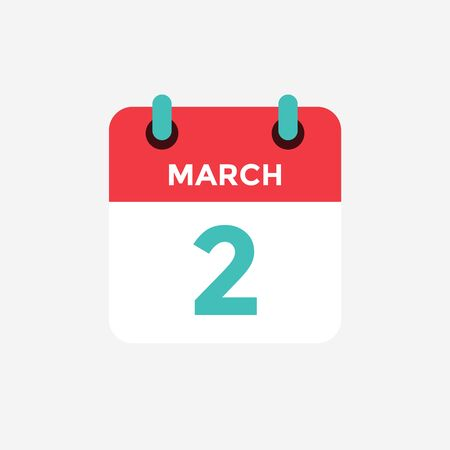 Flat icon calendar 2 of March. Date, day and month. Vector illustration. 스톡 콘텐츠 - 131813912