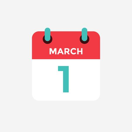 Flat icon calendar 1st of March. Date, day and month. Vector illustration.