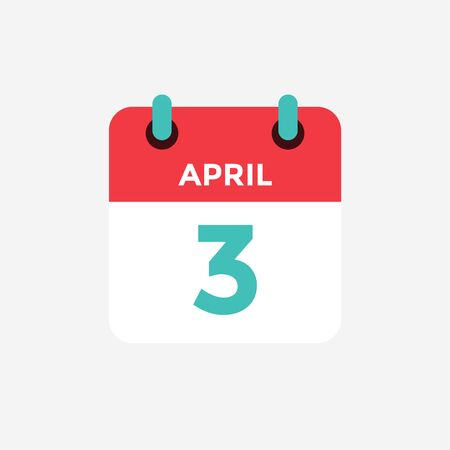 Flat icon calendar 3 of April. Date, day and month. Vector illustration.