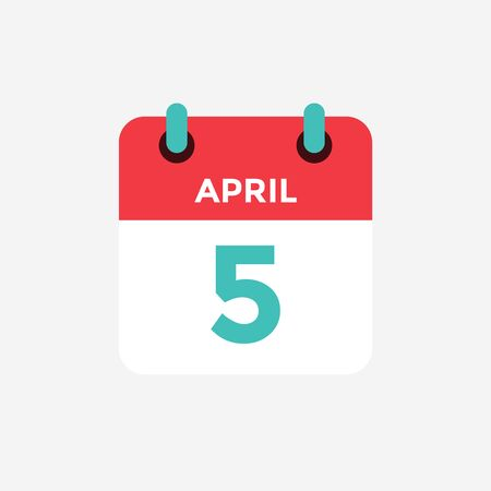 Flat icon calendar 5 of April. Date, day and month. Vector illustration. 일러스트