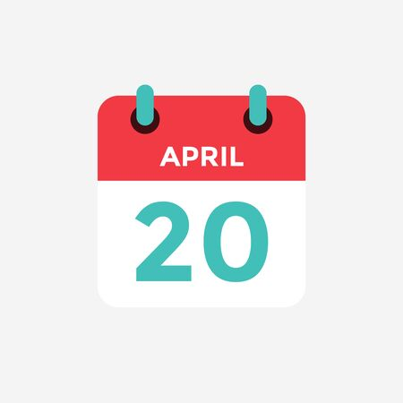 Flat icon calendar 20 of April. Date, day and month. Vector illustration.