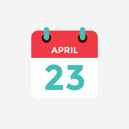 Flat icon calendar 23 of April. Date, day and month. Vector illustration.