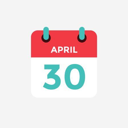 Flat icon calendar 30 of April. Date, day and month. Vector illustration. Illusztráció