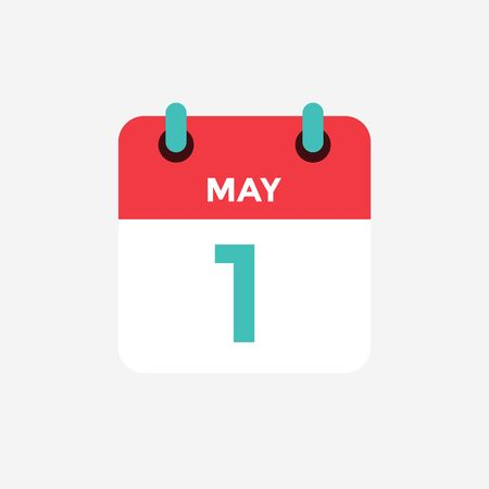 Flat icon calendar 1 of May. Date, day and month. Vector illustration. Ilustração