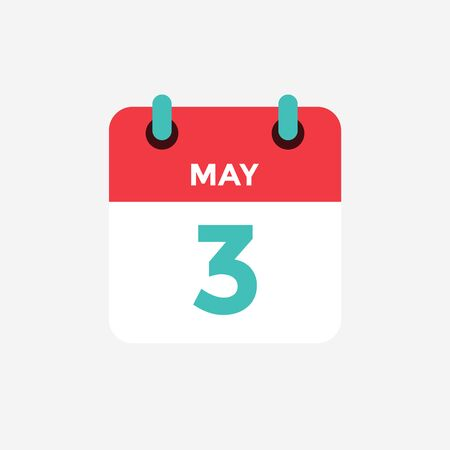Flat icon calendar 3 of May. Date, day and month. Vector illustration.