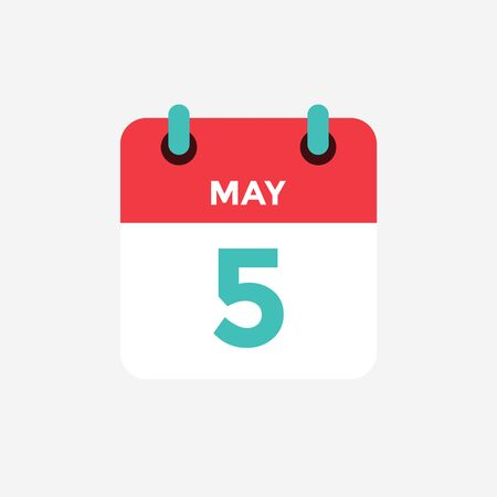 Flat icon calendar 5 of May. Date, day and month. Vector illustration.