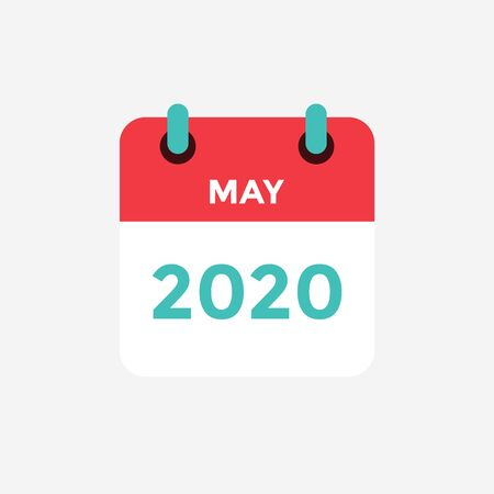 Flacher Symbolkalender Mai 2020. Vektor-Illustration.