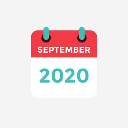 Flat icon calendar September 2020. Vector illustration.