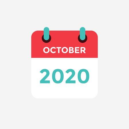 Calendario de icono plano octubre de 2020. Ilustración de vector.
