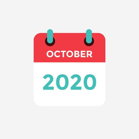 Flat icon calendar October 2020. Vector illustration.