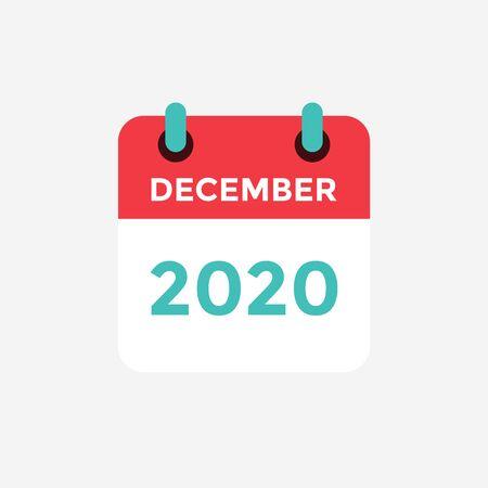 Flat icon calendar December 2020. Vector illustration.