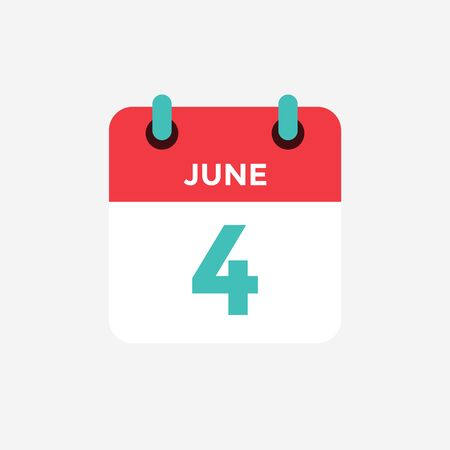 Flat icon calendar 4 of June. Date, day and month. Vector illustration.