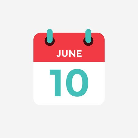 Flat icon calendar 10 of June. Date, day and month. Vector illustration.