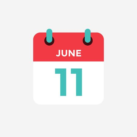 Flat icon calendar 11 of June. Date, day and month. Vector illustration.