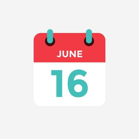 Flat icon calendar 16 of June. Date, day and month. Vector illustration.