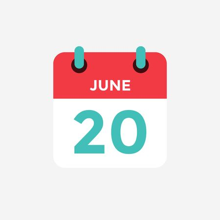 Flat icon calendar 20 of June. Date, day and month. Vector illustration. Vectores