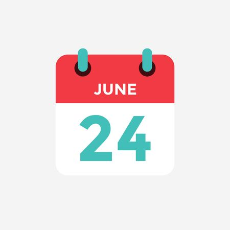 Flat icon calendar 24 of June. Date, day and month. Vector illustration.
