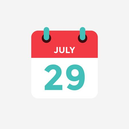 Flat icon calendar 29 of July. Date, day and month. Vector illustration.