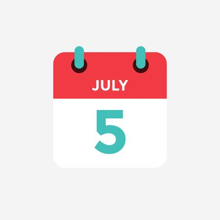 Flat icon calendar 5 of July. Date, day and month. Vector illustration. Vectores