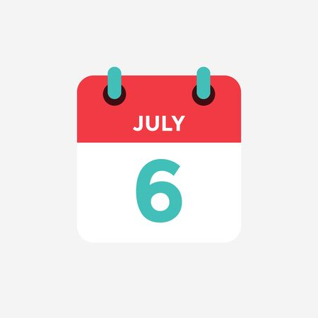 Flat icon calendar 6 of July. Date, day and month. Vector illustration.