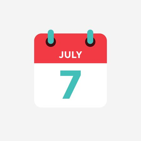 Flat icon calendar 7 of July. Date, day and month. Vector illustration.