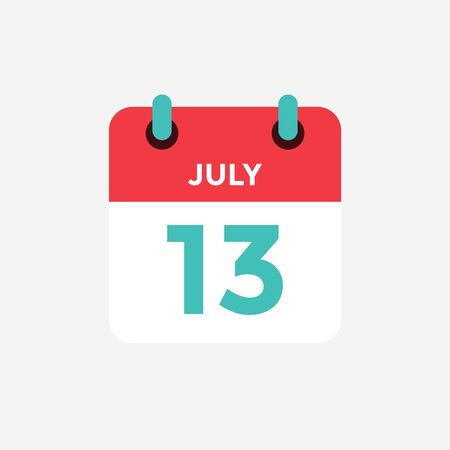 Flat icon calendar 13 of July. Date, day and month. Vector illustration. Vectores