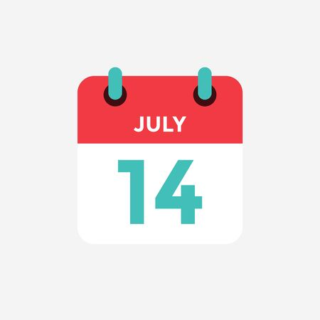 Flat icon calendar 14 of July. Date, day and month. Vector illustration. Vectores