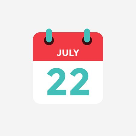 Flat icon calendar 22 of July. Date, day and month. Vector illustration.