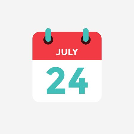 Flat icon calendar 24 of July. Date, day and month. Vector illustration.