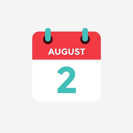 Flat icon calendar 2 o fAugust . Date, day and month. Vector illustration. Ilustração